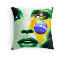 Brazil flag paint on girl face Throw Pillow