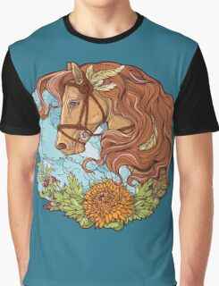 Colorful portrait of a horse with clouds and flowers. Graphic T-Shirt
