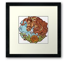 Colorful portrait of a horse with clouds and flowers. Framed Print