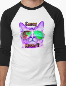 CAT WEARING SUNGLASSES CHECK MEOWT CATS BEACH TROPICAL GRUMPY OCEAN MEOW KITTEN KITTY SUN GLASSES Men's Baseball ¾ T-Shirt