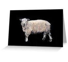 Vintage-style painted Sheep on black Greeting Card