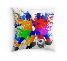 Soccer players dribble paint splash Throw Pillow