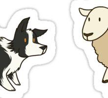 Come Bye - B&W dog and white sheep Sticker