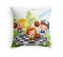 Basketball sport kids art Throw Pillow