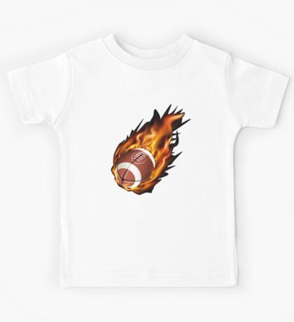 Realistic American football in the fire Kids Tee