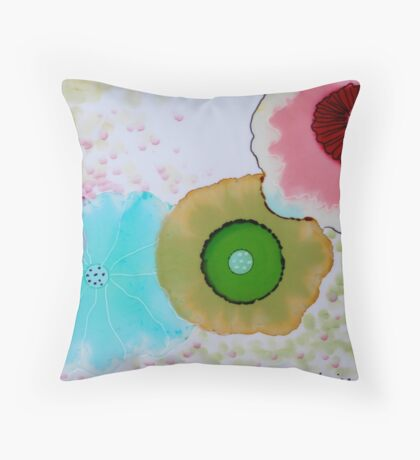 """Geodes"" Colorful Unique Original Original Artist's Painting! Throw Pillow"
