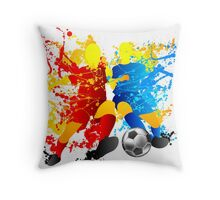Football players splash with a soccer ball Throw Pillow