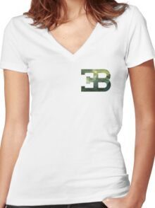 Bugatti Forest. Women's Fitted V-Neck T-Shirt