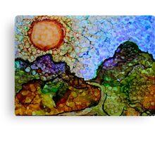 """""""Mountain Majesty"""" - Colorful Unique Original Artist's Painted Landscape! Canvas Print"""
