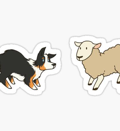 Come Bye - Tri-color dog and white sheep Sticker