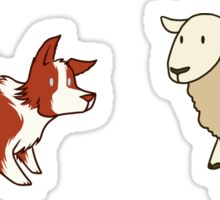 Come Bye - Red dog and white sheep Sticker