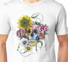 Skull with flowers Unisex T-Shirt