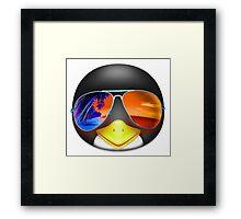 PENGUIN EMOJI WEARING SUNGLASSES Framed Print