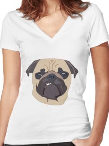 cute digital pug Women's Fitted V-Neck T-Shirt