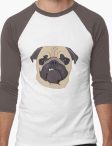 cute digital pug Men's Baseball ¾ T-Shirt