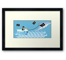 Pirate penguin and shark Framed Print