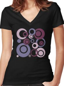 Retro Bubbles #3 Women's Fitted V-Neck T-Shirt