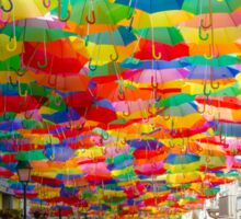 Floating Umbrellas Sticker