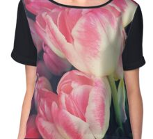 Dramatic Pink Tulips Chiffon Top