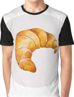 Watercolor Croissant Graphic T-Shirt