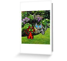 Cats In The Garden Greeting Card