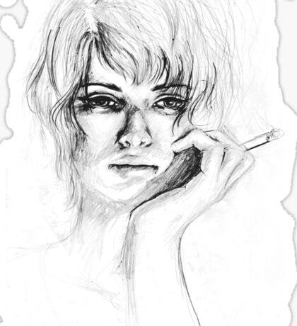 Woman with cigarette Sticker