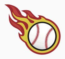Baseball On Fire Kids Tee