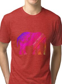 Pink and Orange Elephant Tri-blend T-Shirt