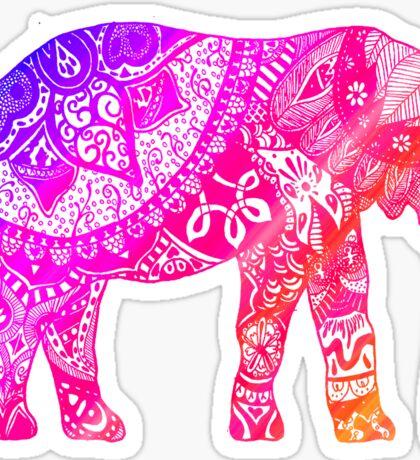 Pink and Orange Elephant Sticker