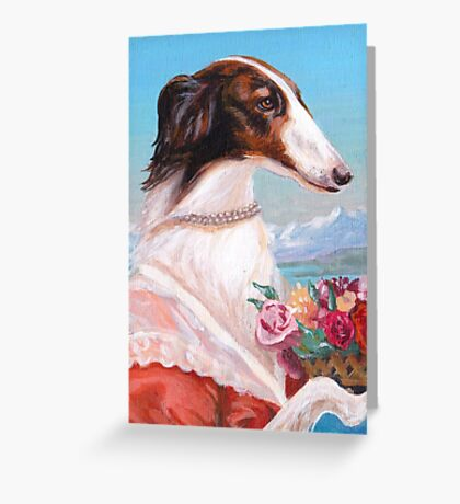 Borzoi Holding Bouquet Greeting Card