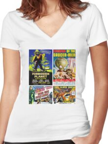Sci-fi Movie Poster Collection #4 Women's Fitted V-Neck T-Shirt