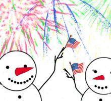 Snowmen Celebrate Independence Sticker