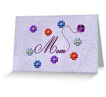 Purple Heart Ladybug Mom Flowers Card Greeting Card