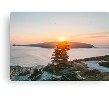Spanish Head : Stone Balancing at Sunset Canvas Print