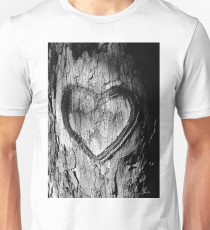 Tree Heart Black and White Unisex T-Shirt