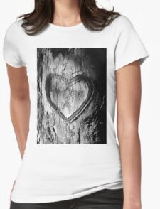 Tree Heart Black and White Womens Fitted T-Shirt