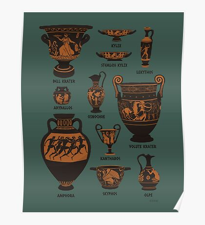 Ancient Greek Pottery Poster