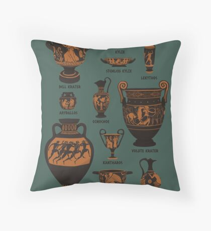 Ancient Greek Pottery Throw Pillow