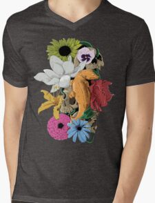 Lizards, Skulls & Flowers Mens V-Neck T-Shirt