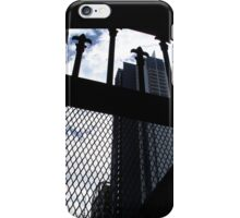 Black & white cityscape with chain wire iPhone Case/Skin