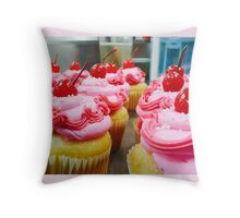 Pink Sprinkled Cupcakes Throw Pillow