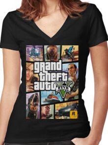 GTA V 5 Five AB3 Women's Fitted V-Neck T-Shirt