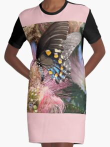 Pipevine Swallowtail Butterfly in Mimosa's Silky Blossoms Graphic T-Shirt Dress
