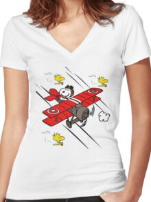 Snoopy Adventure Women's Fitted V-Neck T-Shirt