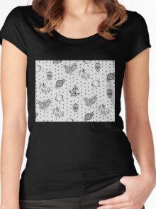 Polka Dot Star Tattoo Pattern Design Women's Fitted Scoop T-Shirt