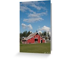 Old Red Barn and Puffy Clouds Greeting Card