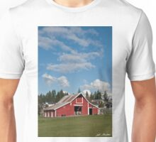 Old Red Barn and Puffy Clouds Unisex T-Shirt