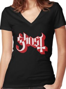 Ghost (Ghost BC) Red HD Logo Women's Fitted V-Neck T-Shirt