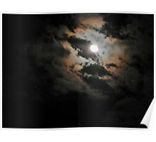 Cloudy Moonlit Night Poster