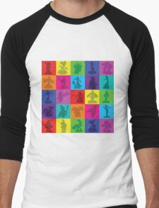 Toys For Games Color Grid Men's Baseball ¾ T-Shirt
